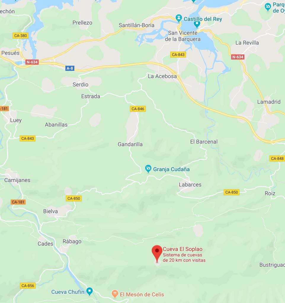 Ubicación en el mapa de la cueva, vemos que está casi en la frontera con Asturias. Al norte se encuentra San Vicente de la Barquera