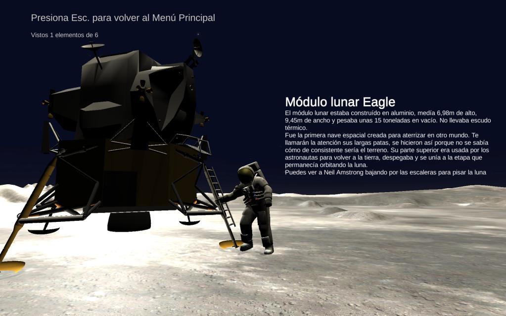 Escena en la luna, podemos ver el módulo Eagle y Armstrong bajando